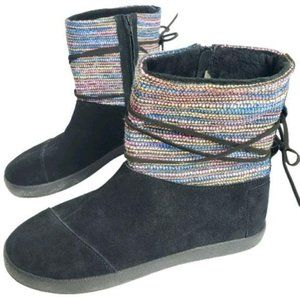 Toms Nepal Girl Black Suede Fur Lined Serape Boots
